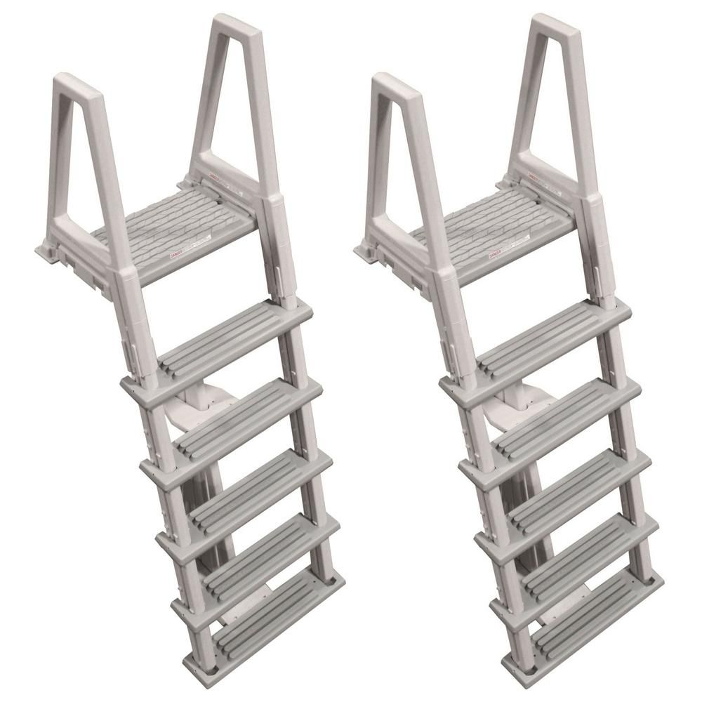 Confer 46 In To 56 In Heavy Duty Ladder For Above Ground Swimming Pool In Gray 2 Pack 2 X 6000x The Home Depot Swimming Pool Ladders Pool Ladder Above Ground Swimming Pools