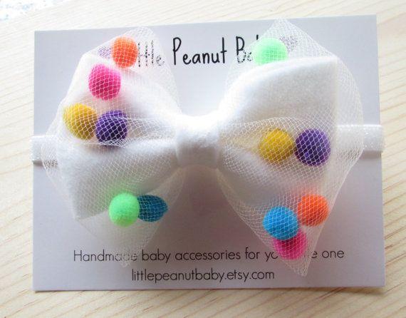 Voelde Pompom hoofdband wit vilt boog door LittlePeanutBaby