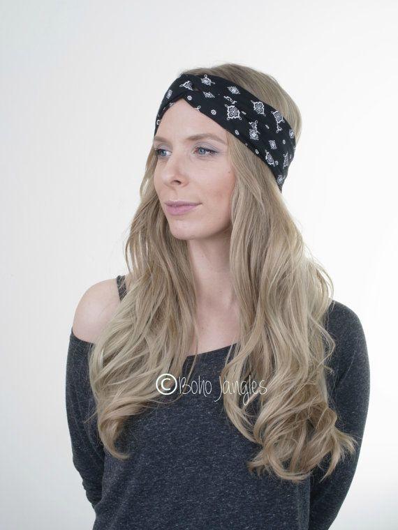 5301aa4352c Victorian Black Turban Yoga Headband Workout by BohoJangles