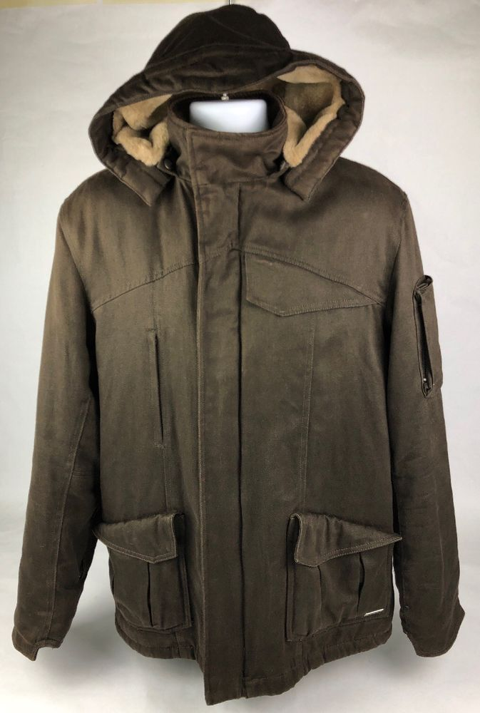 ed4005ca3334 Hemp Hoodlamb Men s Parka Classic Winter Jacket Brown Size XL Faux Fur Lined