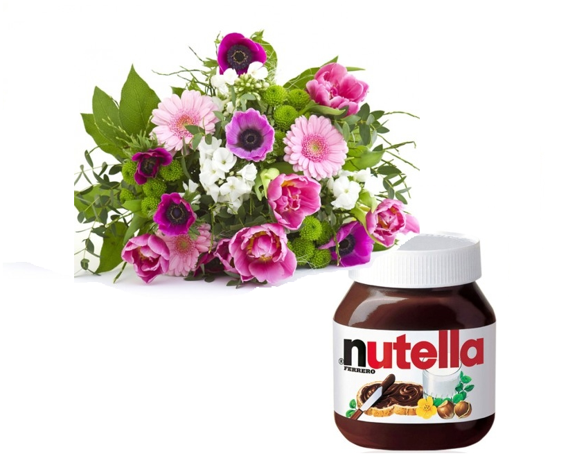 Bouquet fiori colorati con Nutella