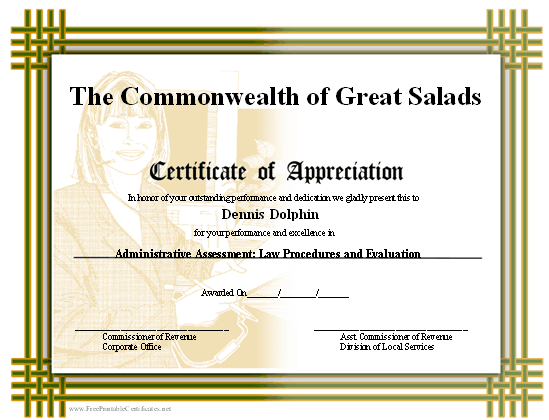 a printable certificate of appreciation with a basketweave border and a background image of a