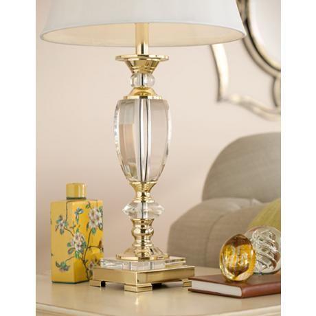 Empire Column Form Brass Crystal Table Lamp Table Lamp Lamp Crystal Table Lamps