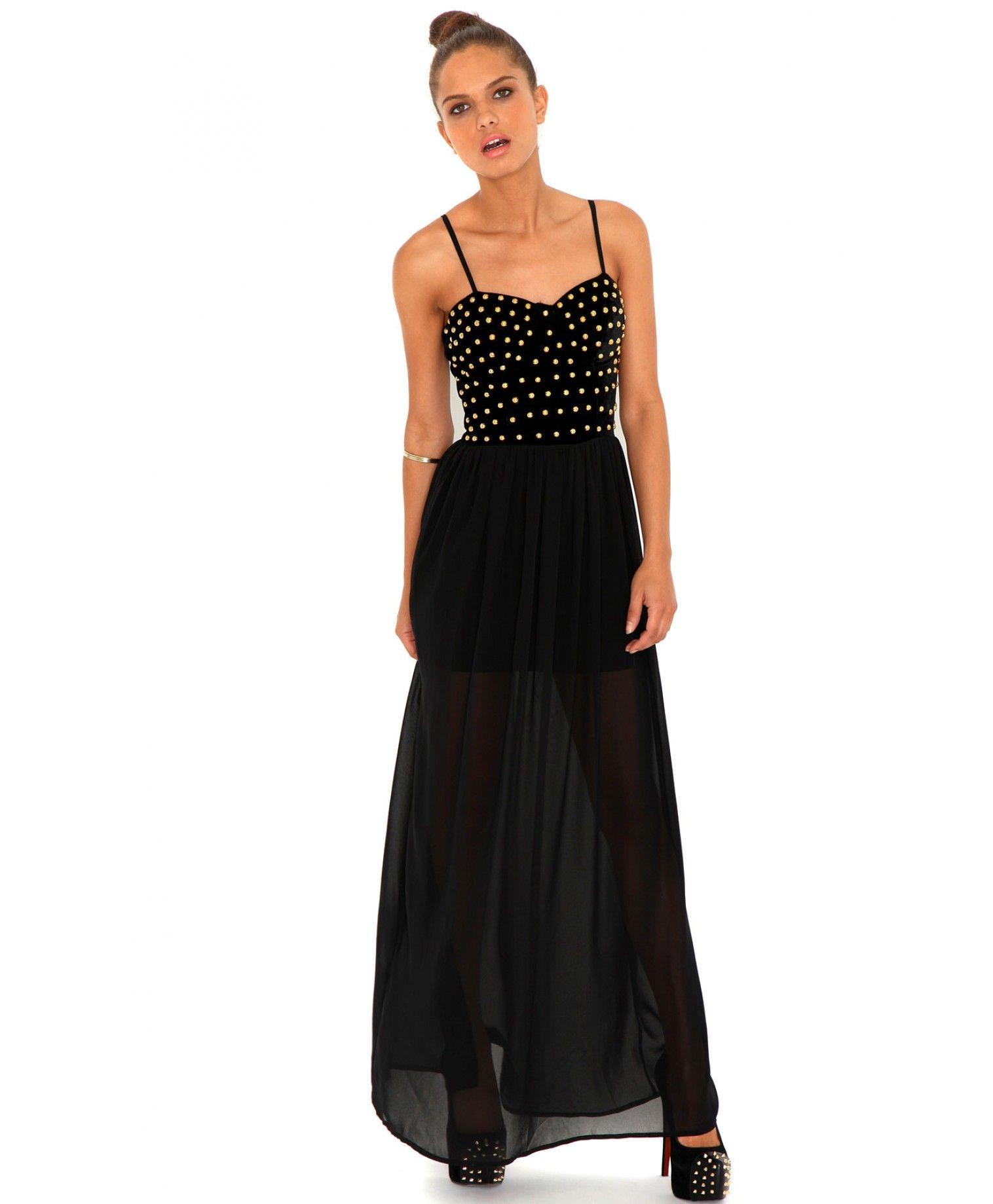 Gillian Velvet Stud Bustier Maxi dresses missguided