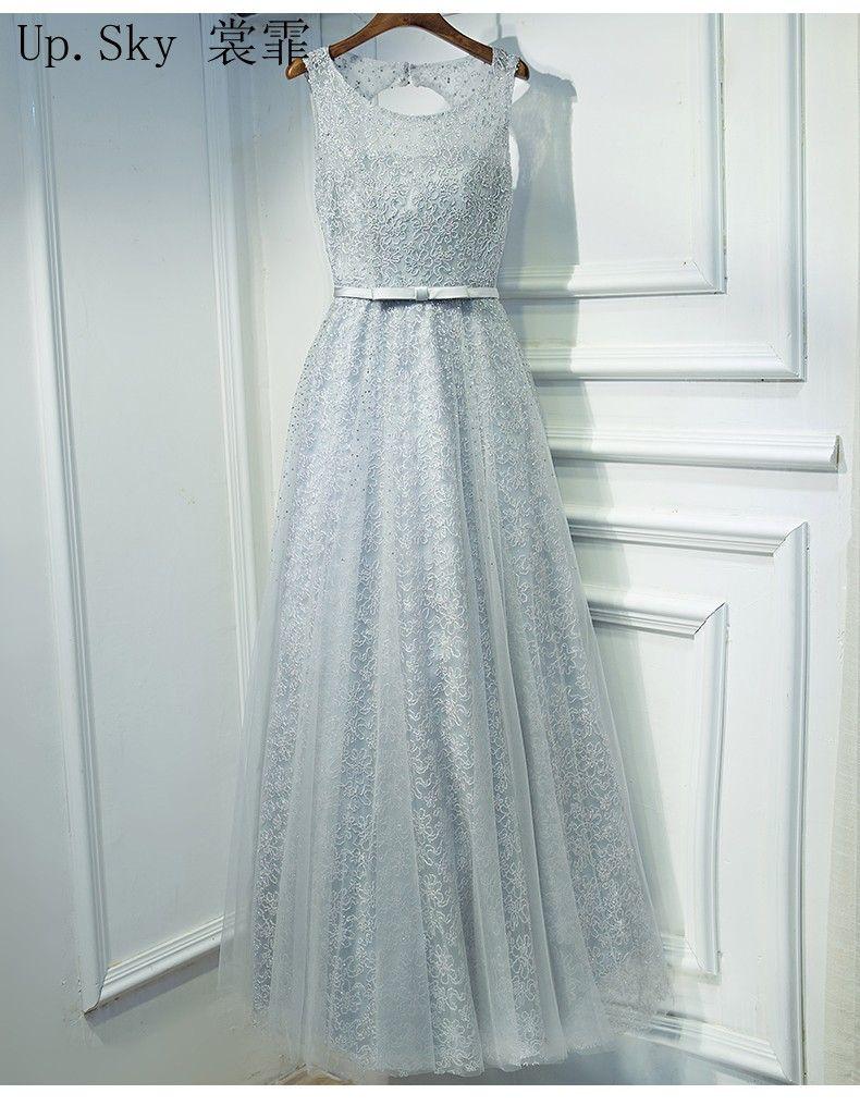 Click to buy ucuc vestido de festa aline gray bead lace evening dress