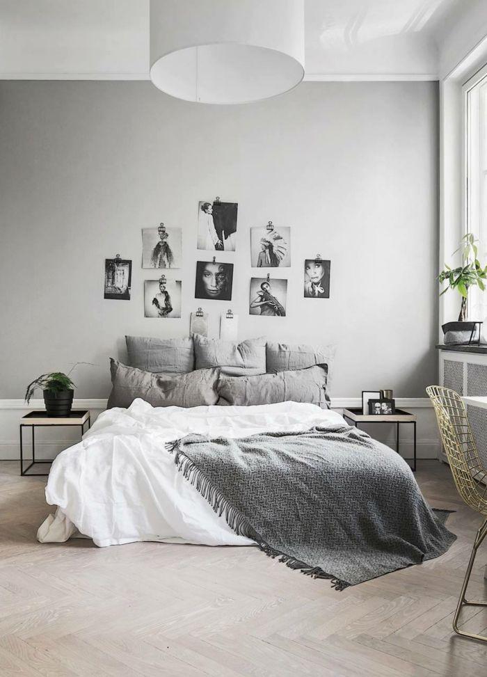 Dormitorios matrimonio modernos dormitorio gris con cama for Decoracion camas matrimonio