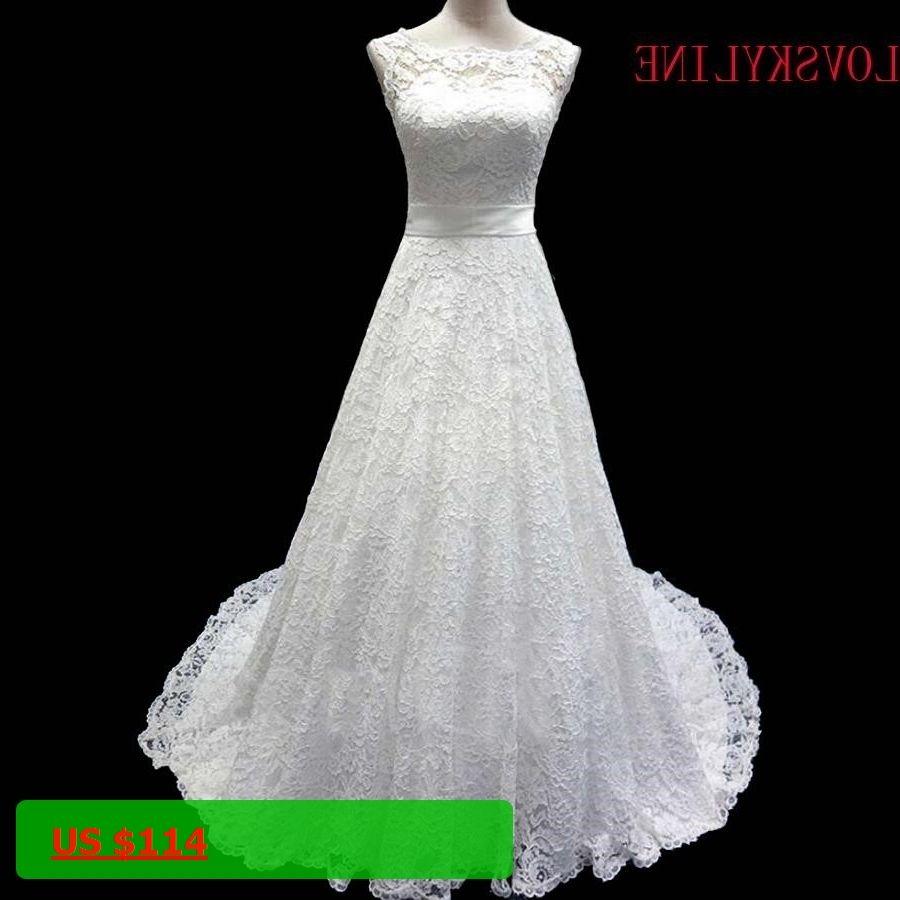 Red lace wedding dress october 2018 LOVSKYLINE  New Elegant Boat neck Ivory Lace Aline short train
