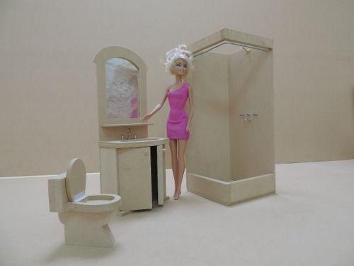 Casita de mu ecas barbie con muebles lista para pintar for Muebles casa de munecas