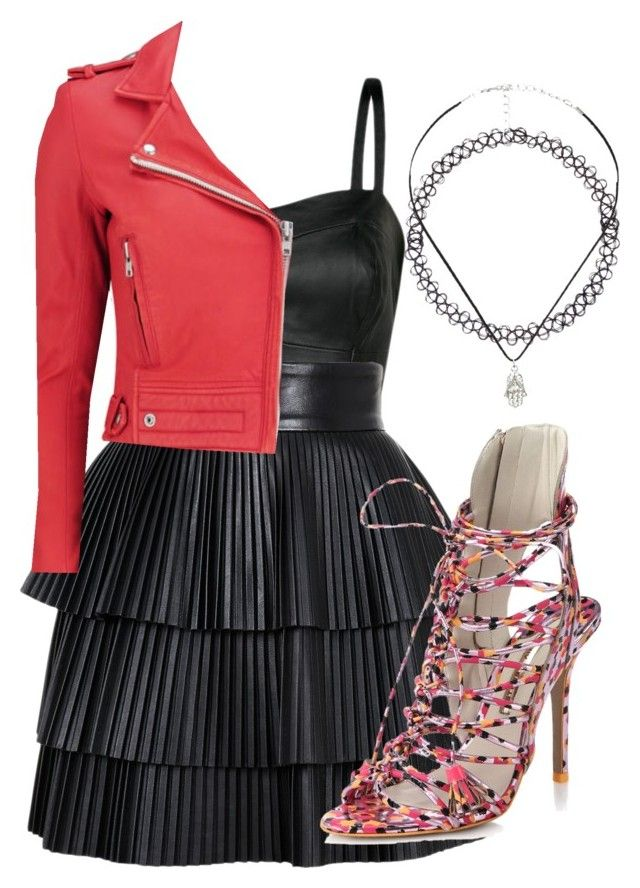 """""""Leather power"""" by good-girls-are-bad-girls-5sos ❤ liked on Polyvore featuring MANGO, Charlotte Russe, Balmain, IRO and Sophia Webster"""