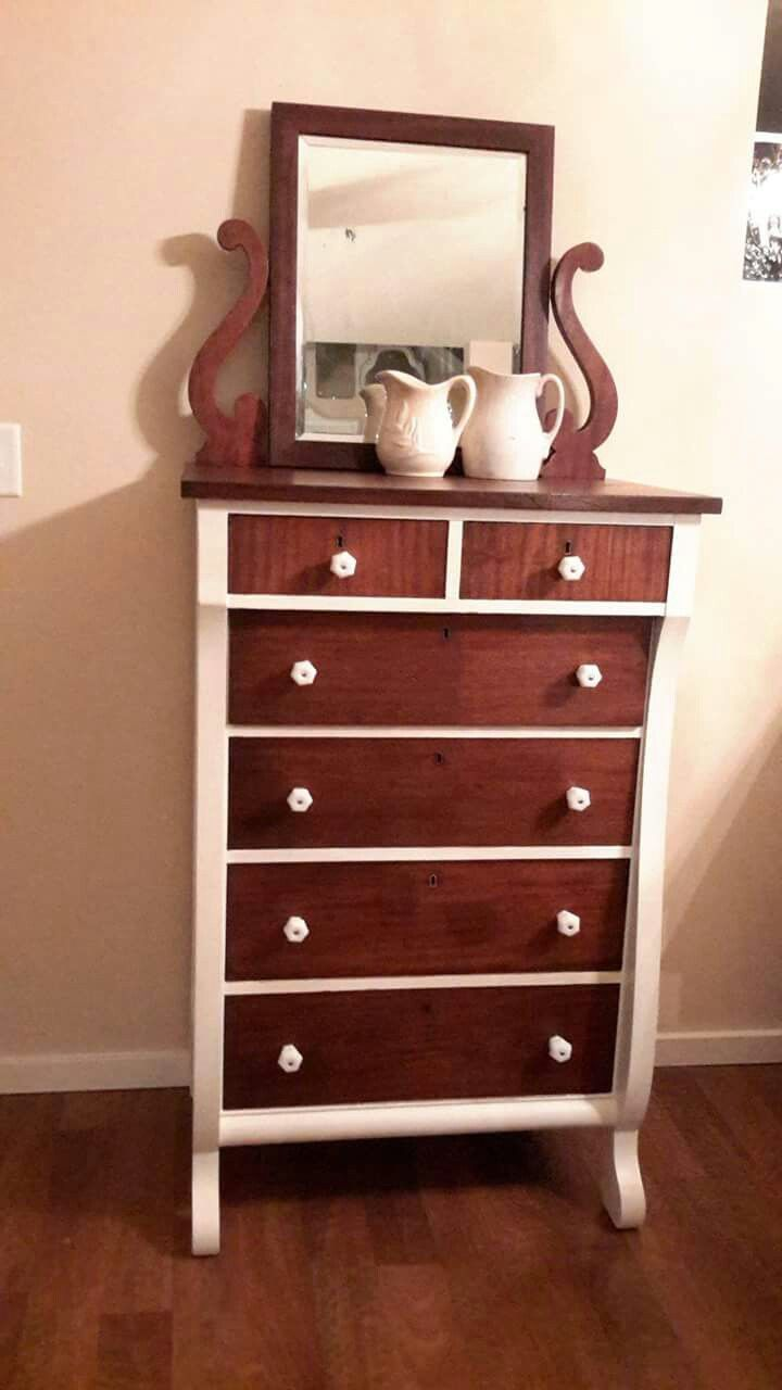 Gorgeous Antique Highboy Dresser Olde White Annie Sloan Chalk Paint Recherished Root S