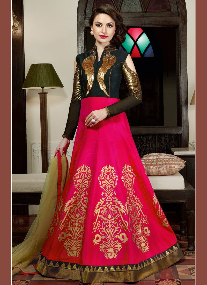a049554cfb Black n hot pink embellished indo western gown style suit