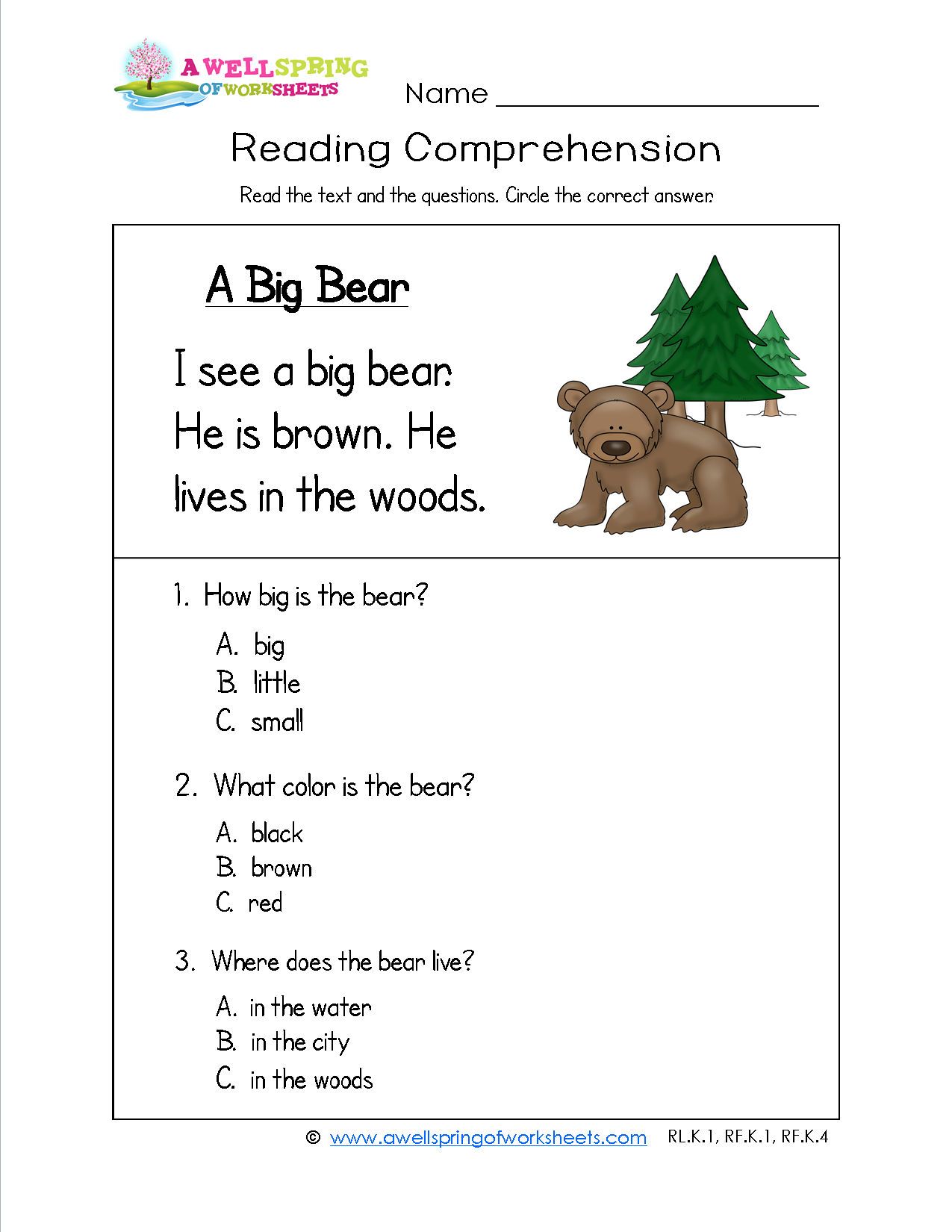 Reading Comprehension Worksheets For 1st Grade