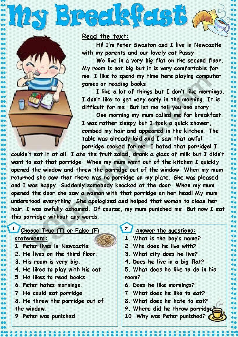 My Breakfast Esl Worksheet By Tmk939 Reading Comprehension Activities Reading Comprehension Reading Comprehension Worksheets [ 1169 x 826 Pixel ]