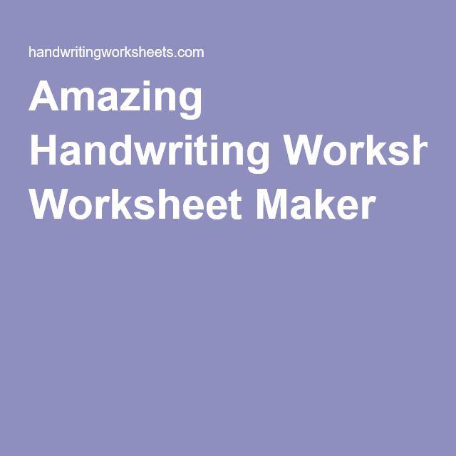{Amazing Handwriting Worksheet Maker Sunday School – Amazing Handwriting Worksheet Maker