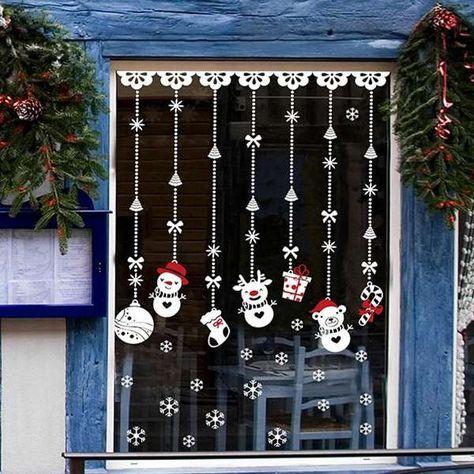 15 Décorations de fenêtres originales pour Noël Xmas and Xmas ideas - peinture sur pvc fenetre