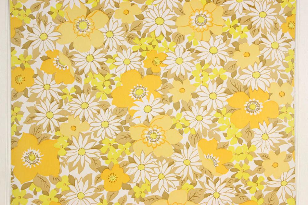 1970s Vintage Wallpaper Retro Yellow And White Flowers In 2020 Vintage Wallpaper Retro Wallpaper Wallpapers Vintage