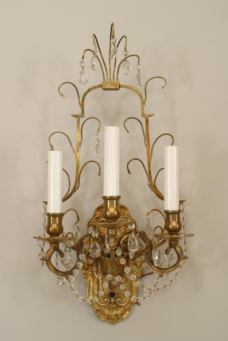 French Victorian Lighting Sconces Bronze Dore