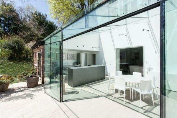 Glaswand Transparent Haus Glas Althaus Anbau