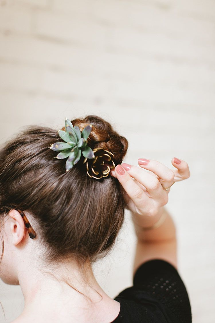 diy succulent hair pins, the perfect easy craft project to add some fun summer accessories to your look. full tutorial on jojotastic.com