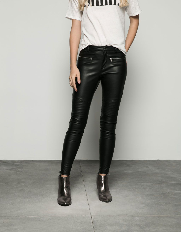 Pantalon Motero Bershka Polipiel New Bershka Mexico Zara Leather Pants Pants