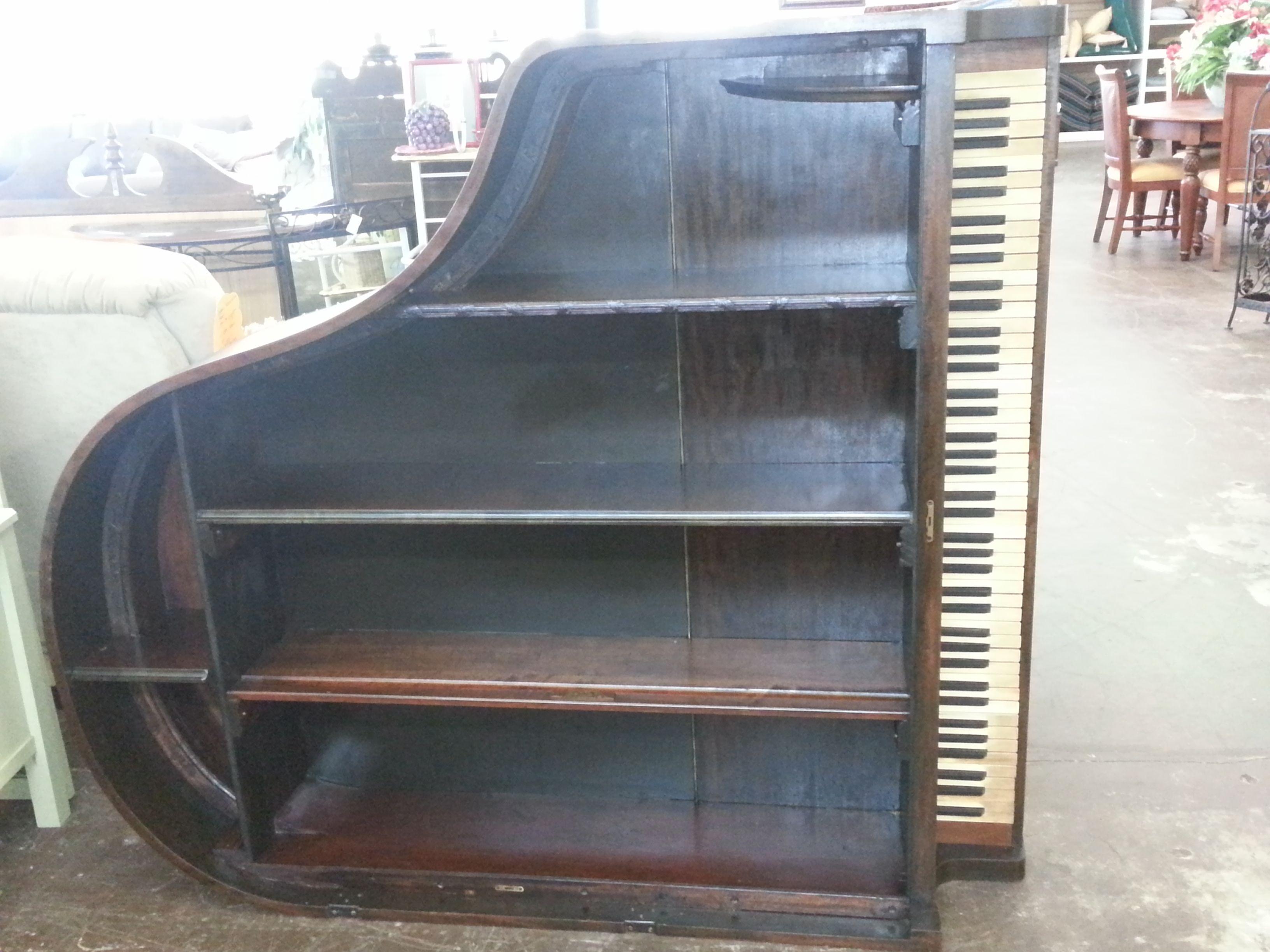 mahogany baby grand piano bookcase brillant upcycled