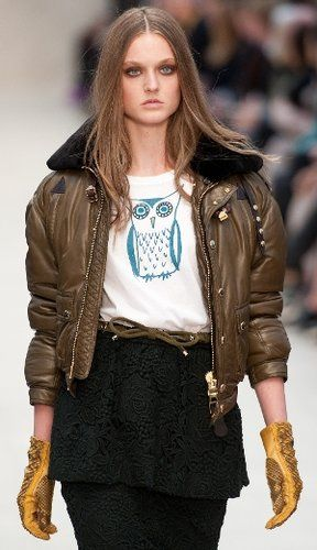Owl spotting at Burberry Prorsum during London Fashion Week.
