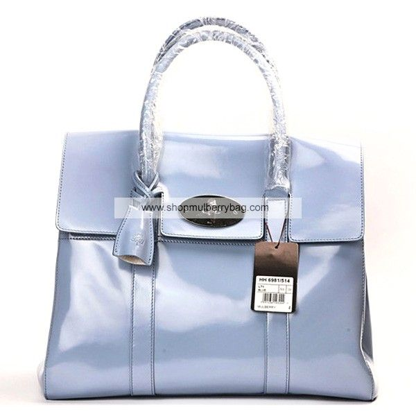 c7e683a4ebe4 Mulberry Women s Standard Bayswater Patent Leather Shoulder Bag Blue ...