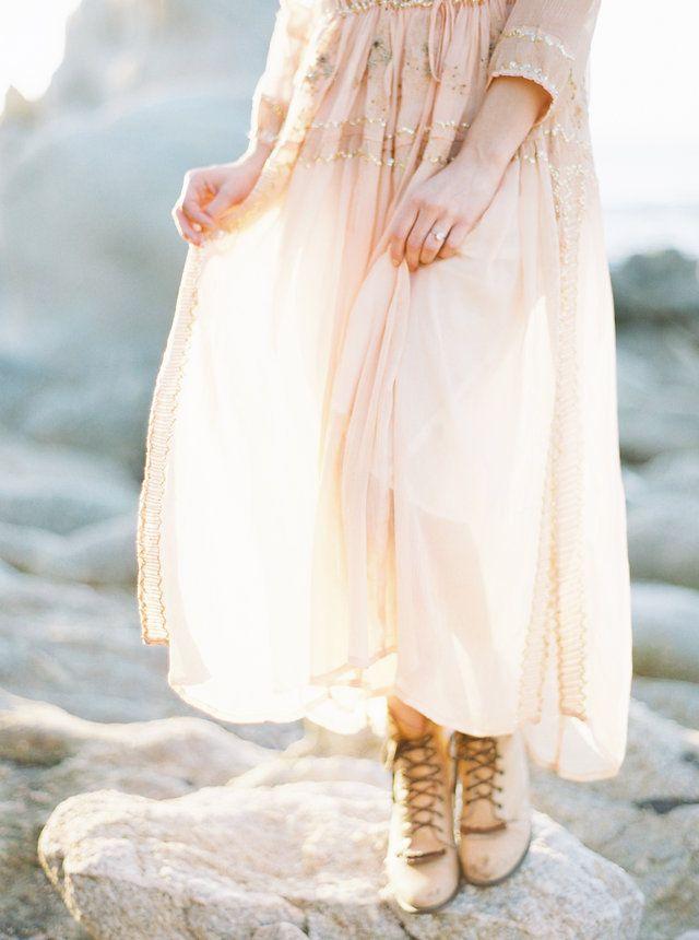 Beautiful Engagement Blush Dress via oncewed.com #wedding #engagement #bride #blush #california #light #cliffs