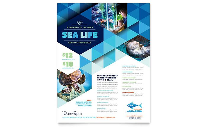 Ocean Aquarium Flyer Template Design By Stocklayouts  Lol