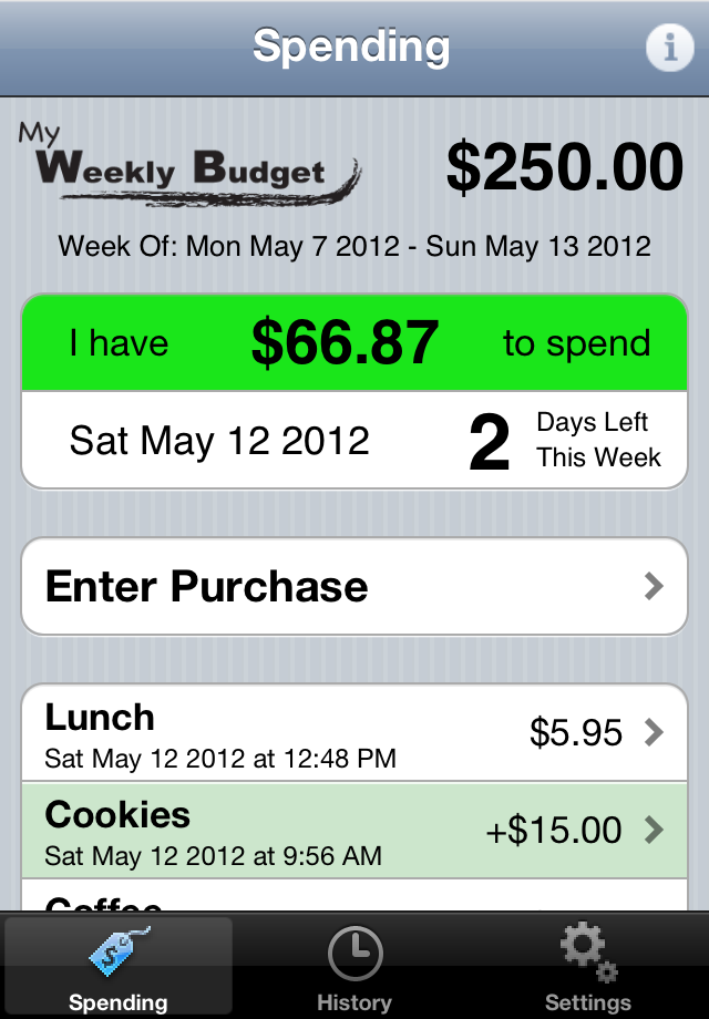 my weekly budget app lets you focus on a simple spending target for the current