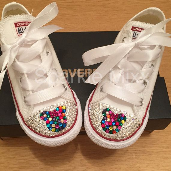 334bc069140b05 Adults Minnie Mouse multi coloured Converse Swarovksi Crystal Bling ...