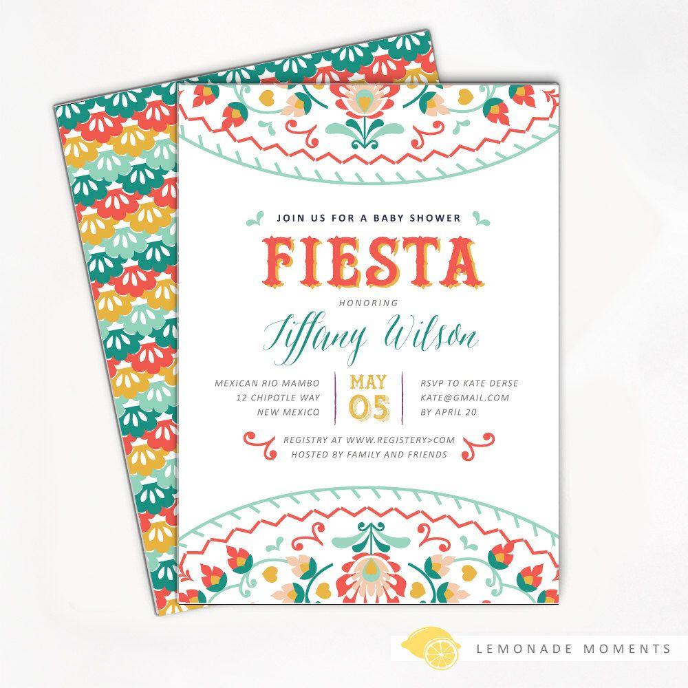 Fiesta Baby Shower Invitation, Mexican Fiesta Invite Printable ...