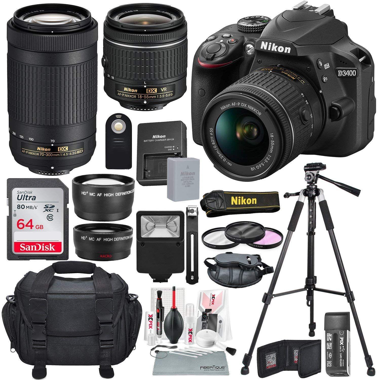 Amazon Com Nikon D3400 With Af P Dx Nikkor 18 55mm F 3 5 5 6g Vr Nikon Af P Dx Nikkor 70 300mm F 4 5 6 3g Ed Lens 64g Dslr Accessories Camera Nikon Nikon