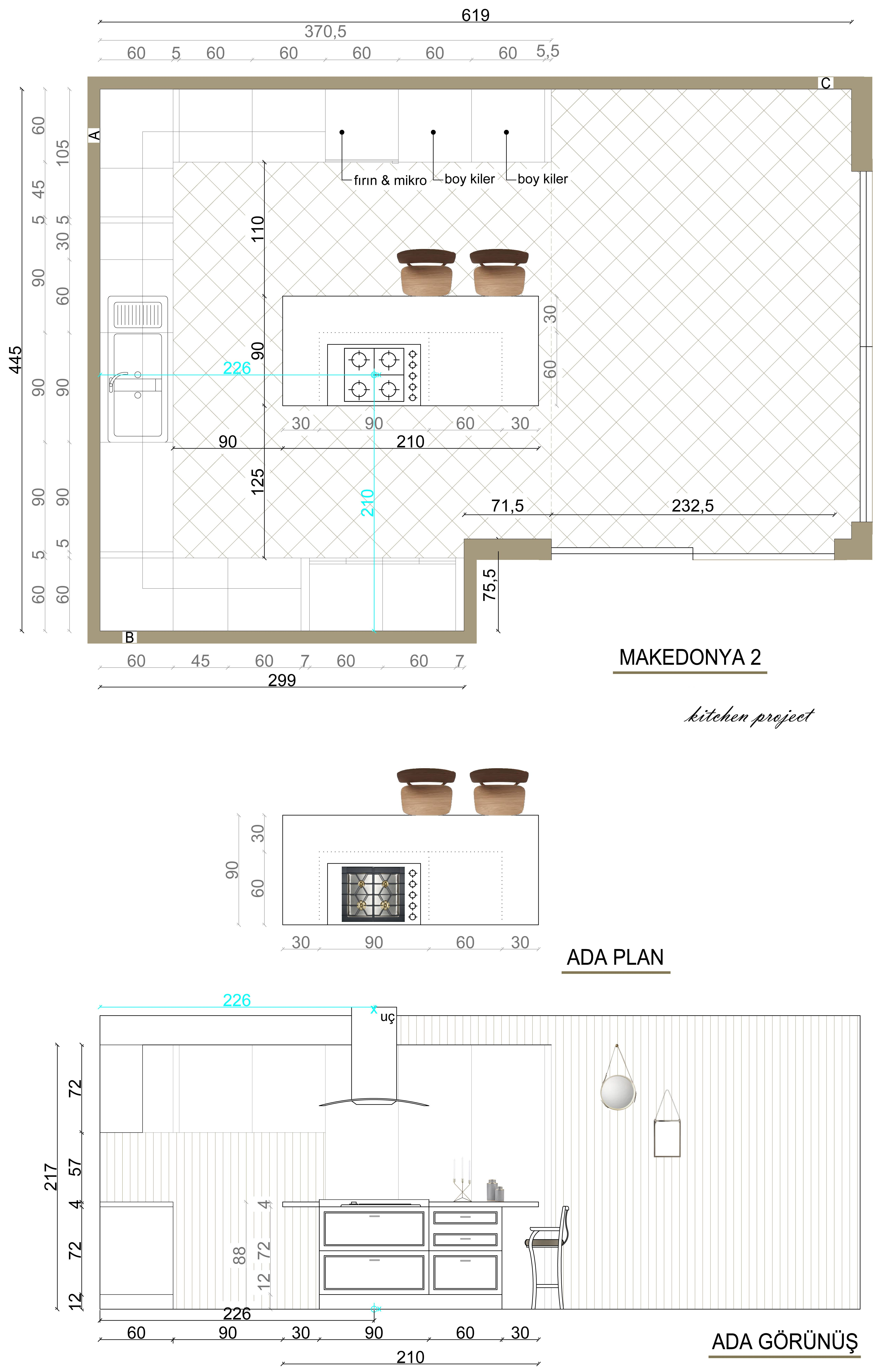 Plan And Elevation Cuisine : Kitchen island plan elevation pinterest