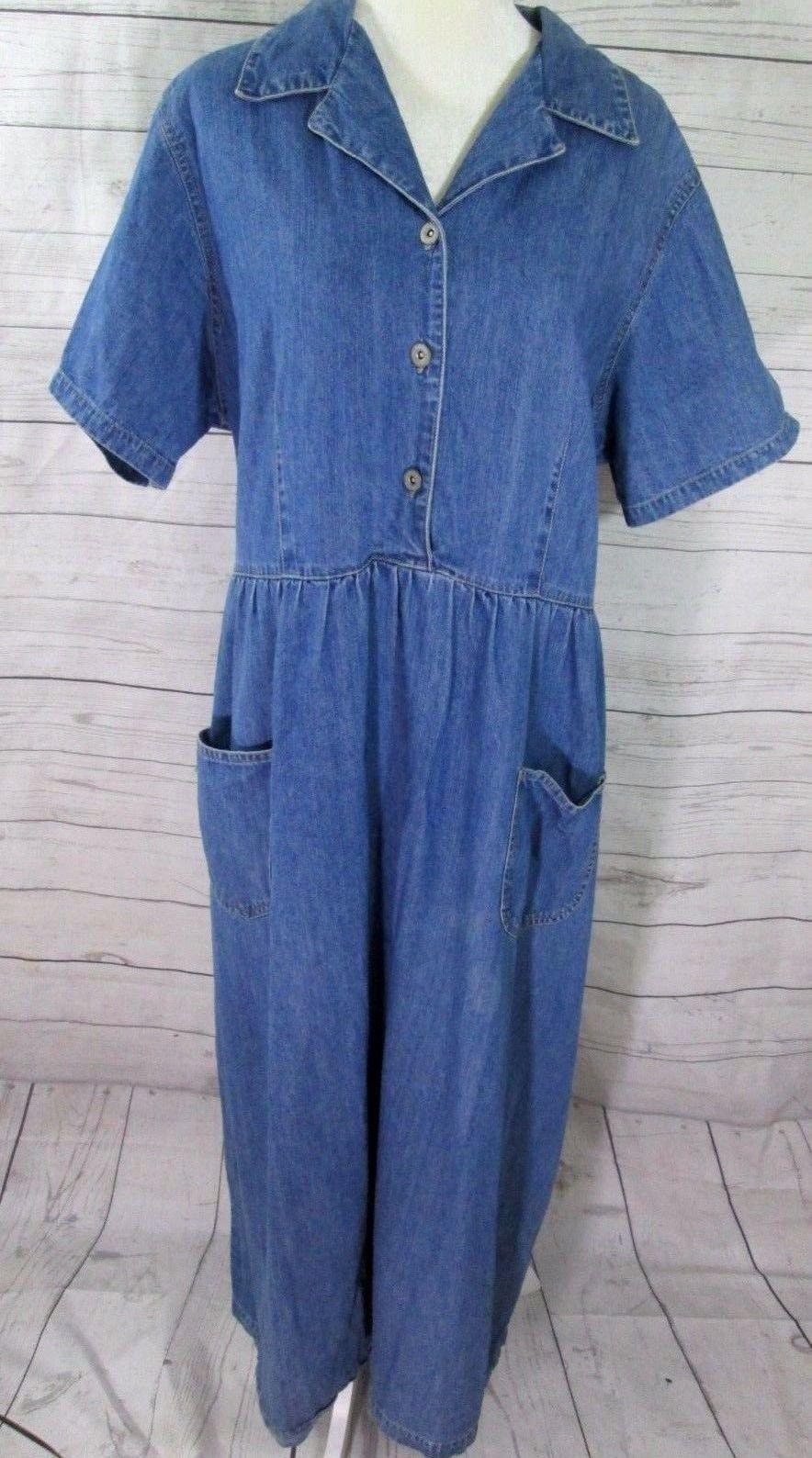 Bill blass blue denim jean dress jumper cotton plus size x