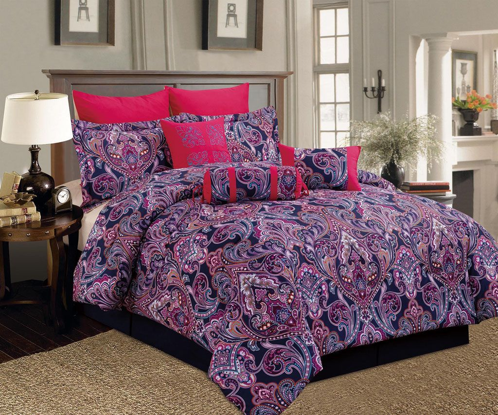 9 Piece Queen Castelli PurplePink Comforter Set