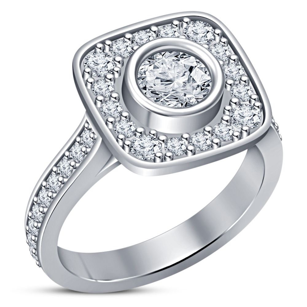 Solid 10k White Gold Plated 925 Silver Lab Diamonds