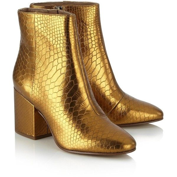 765e5259b94c Sam Edelman Taye Metallic Heeled Boots- Gold (12040 ALL) ❤ liked on Polyvore  featuring shoes