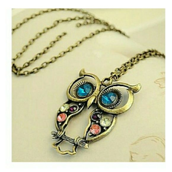 Owl necklace Lovely Alloy With Rhinestone Owl Shaped Necklaces Jewelry