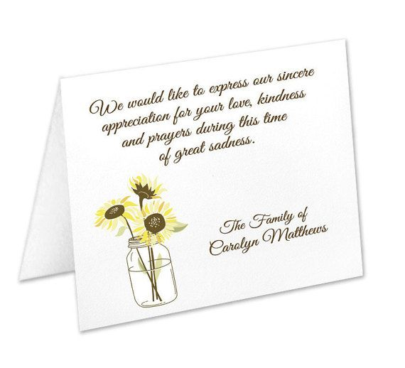 Sympathy Acknowledgement Cards Funeral Thank You Cards Sympathy