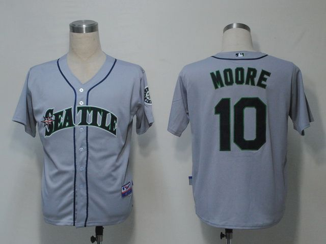 mens mlb seattle mariners 10 moore grey jersey