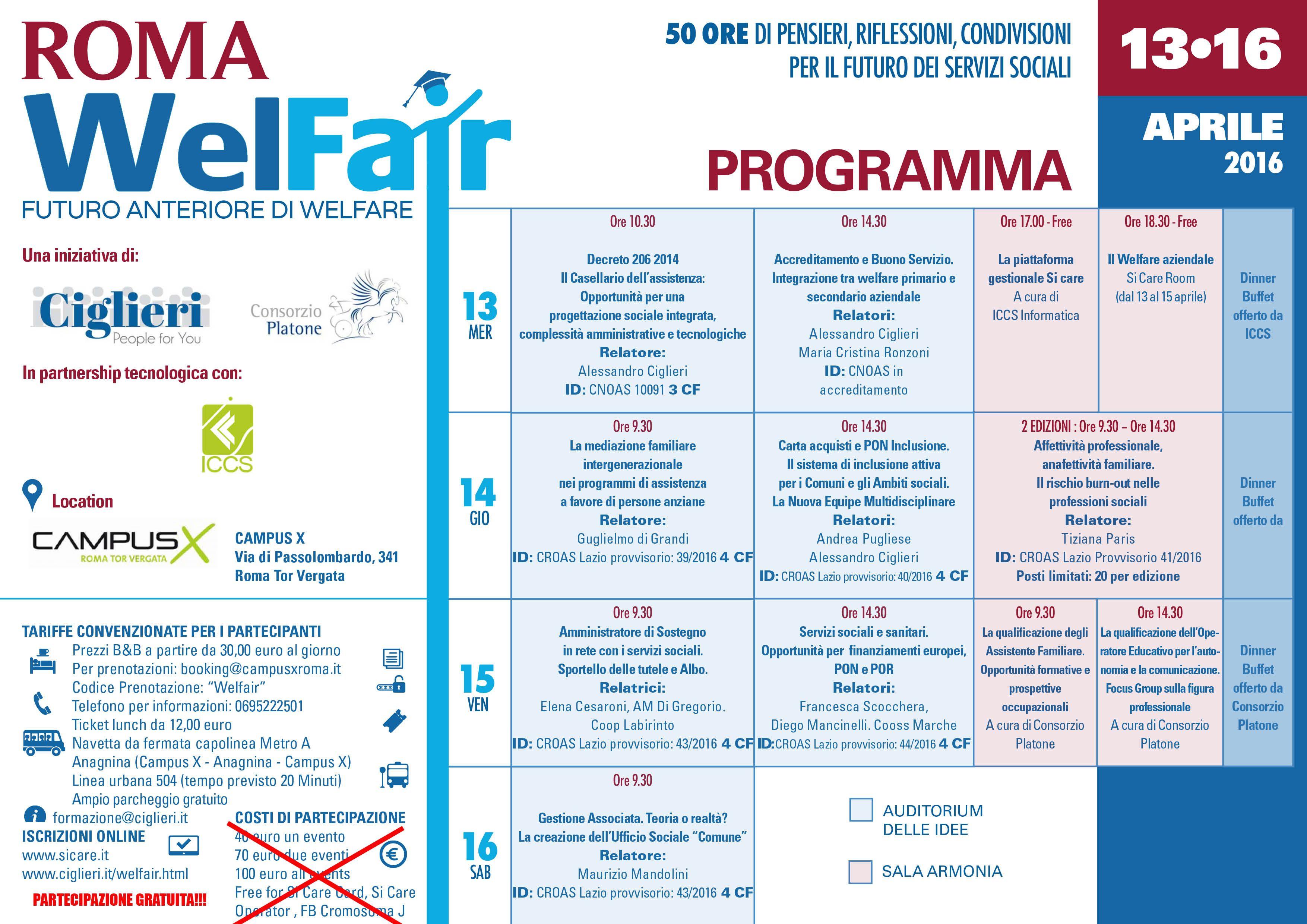 "Programma ""Roma Welfair"" 13-16 Aprile 2016.  #welfare #convegno #assistenza"