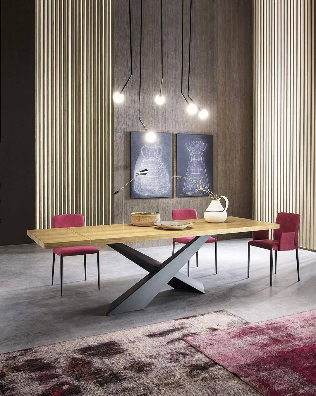 Table With Two Tilted Steel Legs Overlapped In Asymmetric Way
