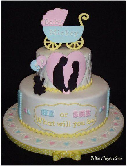 Gender Reveal Cake with Polka Dots Inside - by whitecrafty @ CakesDecor.com - cake decorating website