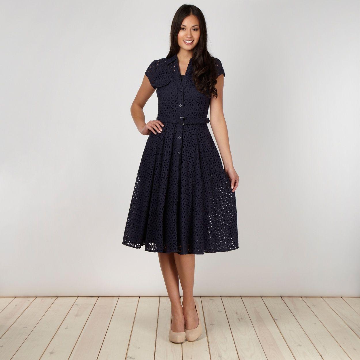 J by Jasper Conran Designer navy broderie shirt dress | Dressing Me