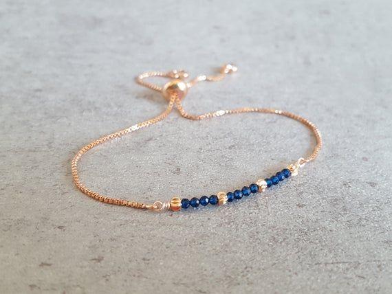 Photo of Sapphire bracelet for women, September Birthstone gift, Gemstone Delicate bracelet Dainty  jewelry,