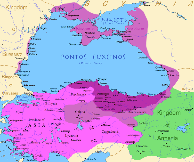 map of the kingdom of pontus before the reign of mithridates vi darkest purple after his conquests purple and his conquests in the first mithridatic