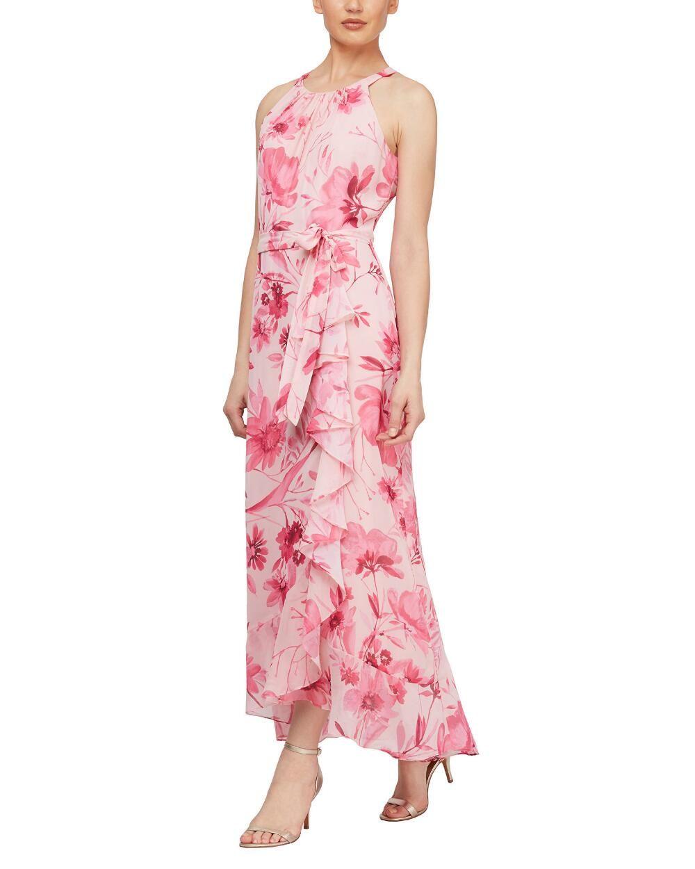 Floral Ruffle High Low Maxi Dress [ 1250 x 1000 Pixel ]