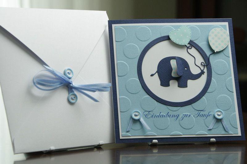 einladungskarte elefant taufe junge | einladungskarten, elefanten, Einladung