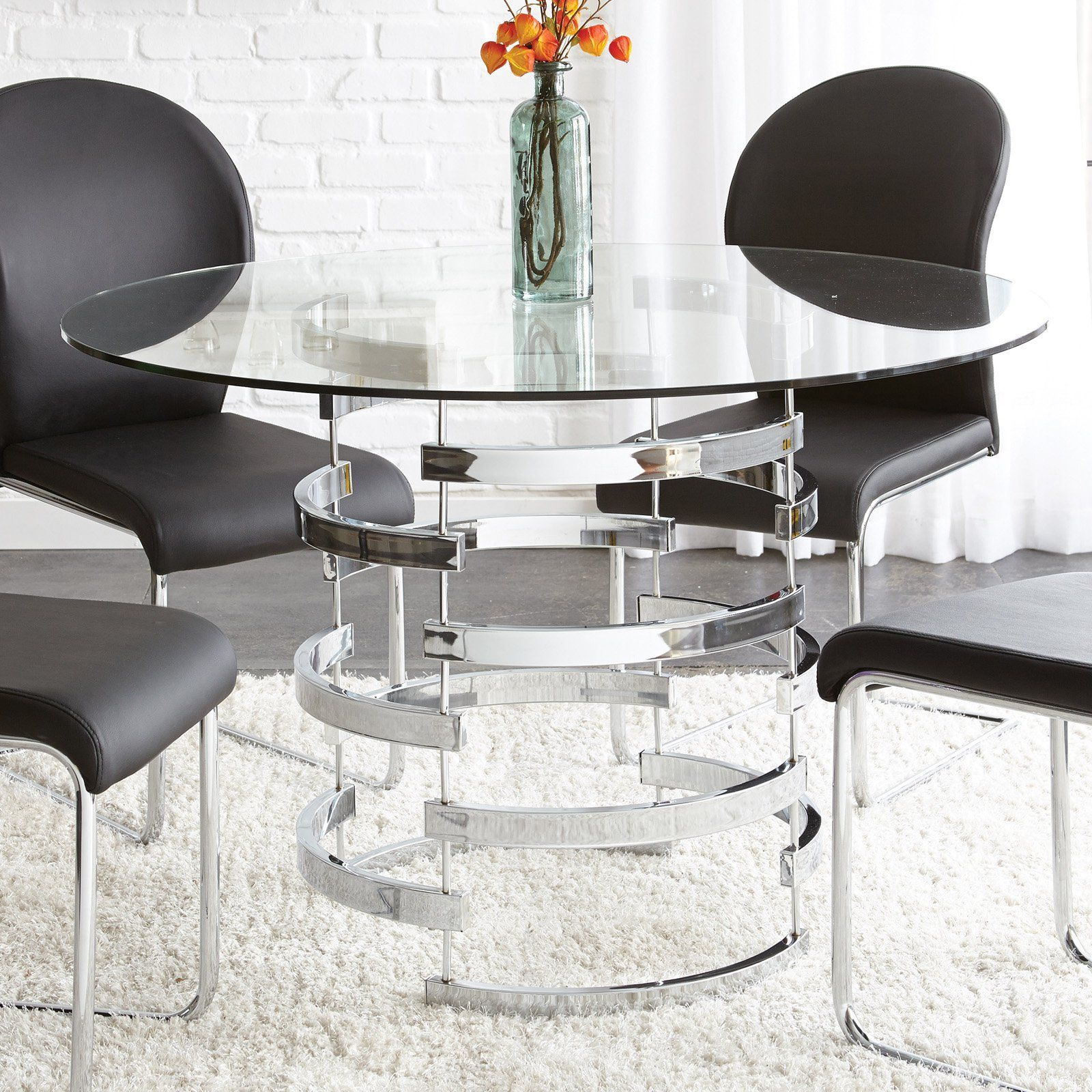 Steve Silver Tayside Tempered Glass Top Dining Table From